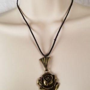Jewelry - Beautiful Bronze Rose Pendant Necklace